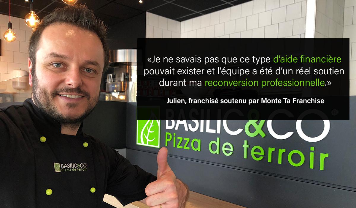 Julien Laissus, ancien courtier, devient franchisé Basilic & Co avec l'aide de Monte Ta Franchise